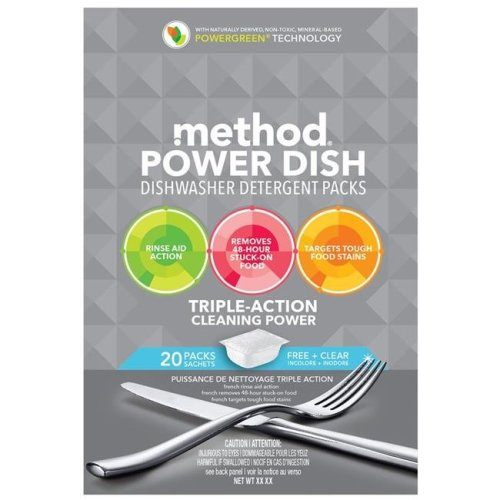 Method 1696574 Power Dish Free Plus Clear Scent Dishwasher Detergent Packs
