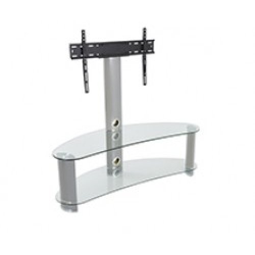 "King Premium Upright Cantilever TV Stand with Bracket Clear Glass Curved Shelves 120cm from 32"" - 65"" inch for HD Plasma LCD LED OLED Curved TVs"