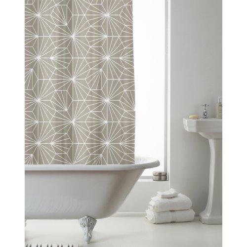 Country Club Shower Curtain Skandi Geo Mink 180 x 180cm