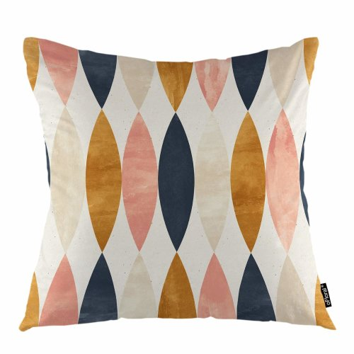 """Melyaxu Geometric Throw Pillow Cover Simple Oval Shapes Garden Leaves Decorative Square Pillow Case 18""""X18"""" Pillowcase Home Decor for Sofa Bedroom"""
