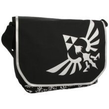 NINTENDO LEGEND OF ZELDA Polyester Messenger Bag with Embroider Link Logo, Black/White (MB00GTNTN)