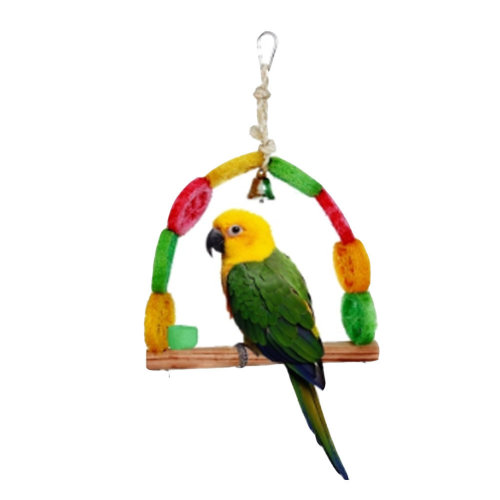 Distinctive Shapes Bird Ring,14 by 8-Inch Swing Durable Loofah Bird Toy