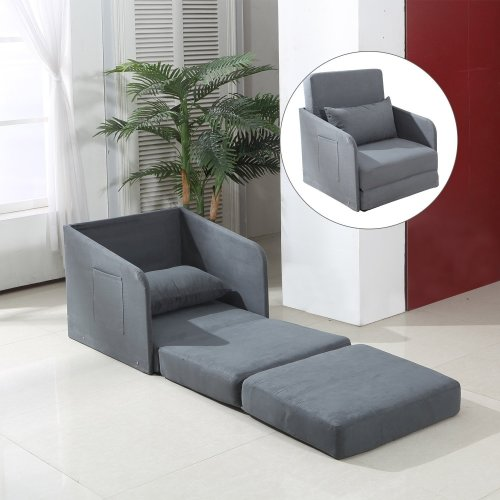 Homcom Single Chair Bed | Grey Futon & Cushion Lounger Set
