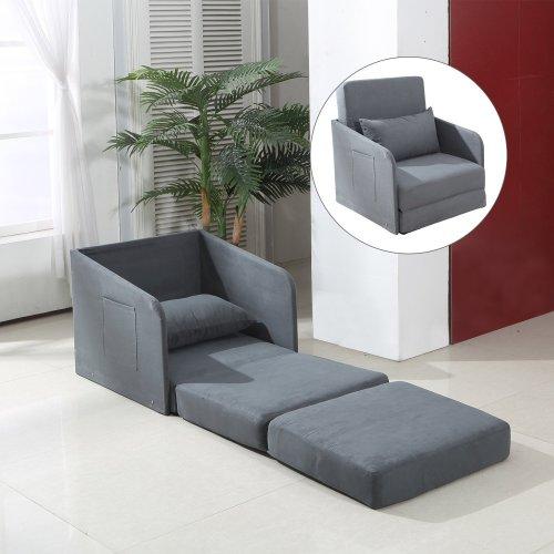 Homcom Single Chair Bed | Grey Futon & Cushion Lounger Set