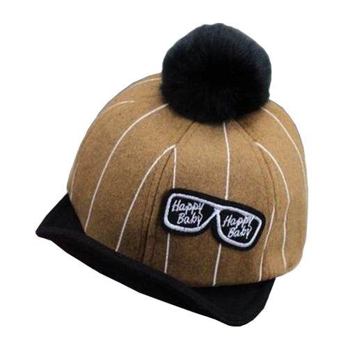 [Glasses Yellow] Stylish Baby Woolen Cap Kids Winter Baseball Cap