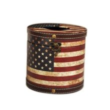 Creative Home Retro Leather Waterproof Stars Stripe Pattern Wooden Tissue Boxes