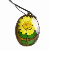 Set of 2 Special Design with Dried Flower Retro Necklace - Sunflower