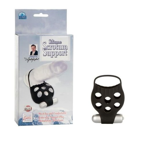 Dr. Joel Silicone Scrotum Support With Stimulator Black