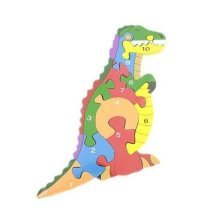 Wood Dinosaur Puzzle - Chunky Colourful Alpha Numbered Kids Jigsaw Wooden Toy -  chunky dinosaur colourful alpha numbered kids puzzle jigsaw wooden