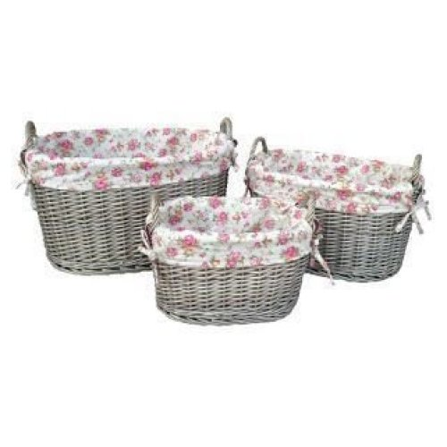 Set of 3 Garden Rose Lining Antique Wash Oval Wicker Storage Baskets