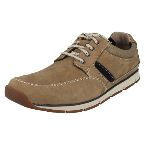 Mens Clarks Casual Lace Up Shoes Beachmont Edge - Taupe Nubuck - UK Size 7G - EU Size 41 - US Size 8M