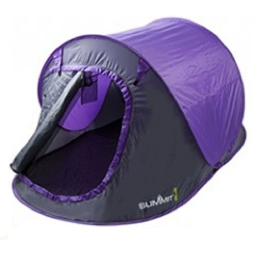 2 Berth Pop-up Camping Tent 1500HH with Carry Bag - Purple