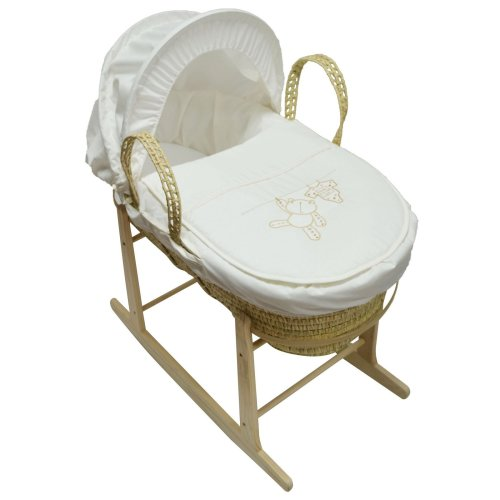 Baby Moses Basket And Natural Rocking Stand Cream Hanging Ted Palm