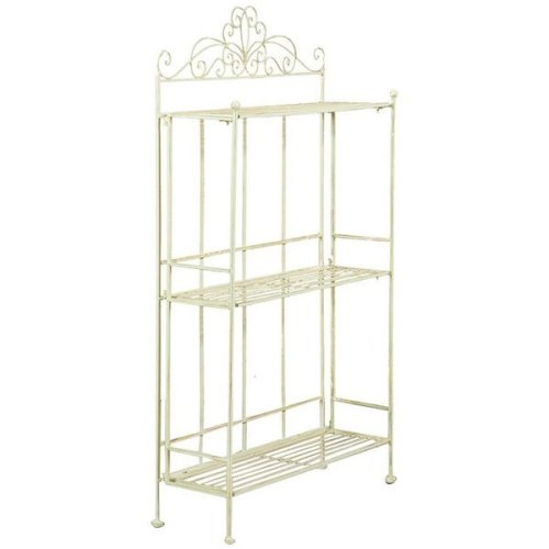 Multipurpose Wrought Iron Made Antiqued White Finish W50xdp17xh90 Cm  Sized Collapsible ?tag?re