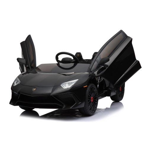 Licensed Lamborghini Aventador SV 12V 7A Electric Ride On Car MP3 Player Two Speed Function Safety Seat Belt Black Ages 3-8 Years