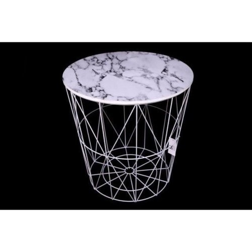 40Cm Round Marble Effect Side Table Steel Frame Stool Home Office