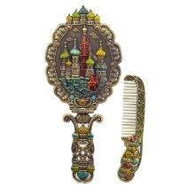 ANTIQUE-PEWTER Castle Vintage Metal Mirror And Comb Set, Bronze