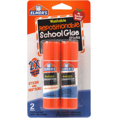 Elmer's Repositionable School Glue Sticks 2/Pkg-.53oz