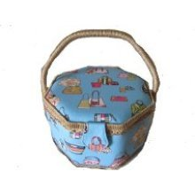Large Sewing Basket Fabric covered with Handbag Design 24x24x17cm