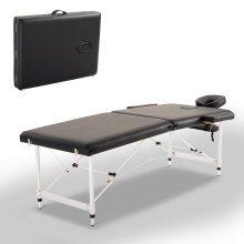 HOMCOM Foldable Massage Table, 185Lx70Wx59-80H cm, Aluminium-Black