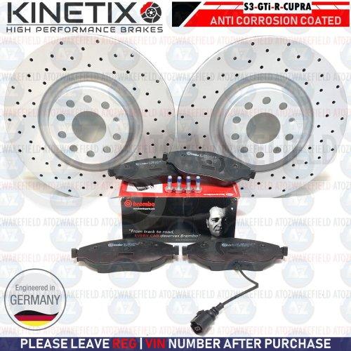 Front Drilled Brake Discs Brembo Brake Pads For S3 8V Golf R GTi MK7 Leon Cupra
