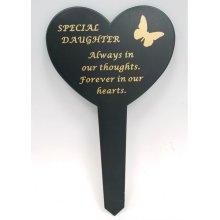 Daughter  Black Slim Plastic Heart  Memorial Grave Marker Stake