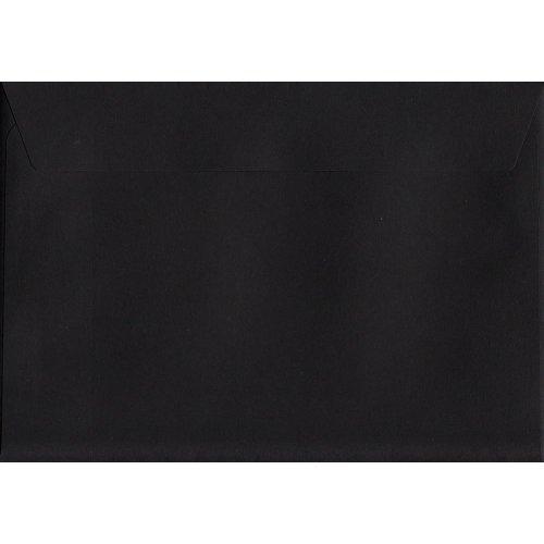 Black Peel/Seal C6/A6 Coloured Black Envelopes. 120gsm Luxury FSC Certified Paper. 114mm x 162mm. Wallet Style Envelope.