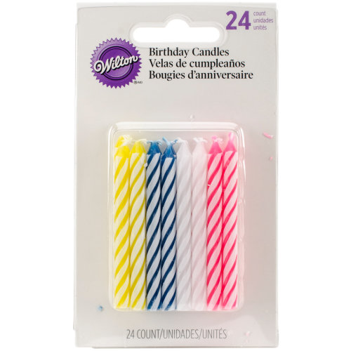 Birthday Candles 25 24 Pkg Assorted Striped Spirals On OnBuy