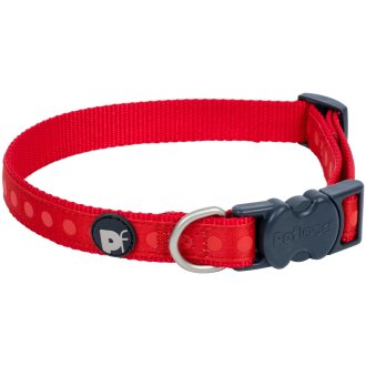 "Petface Tonal Dots Collar 8"" To 14""-Small-Red"