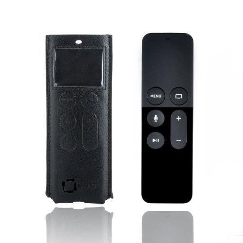InventCase Protective PU Leather Case Cover Wallet Slip Pouch for Apple TV Siri Remote (4th Generation, A1625 2015) - Black