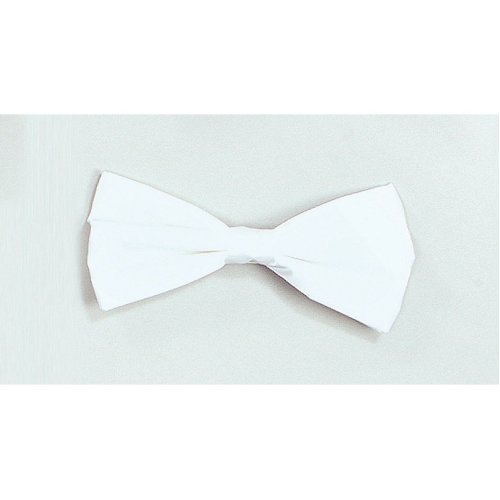 White Satin Dickie Bow Tie -  bow fancy dress white tie accessory