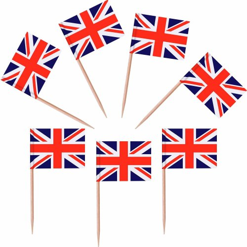 100 Pieces British Flag Toothpicks The Union Jack Flag Cupcake Toppers for Birthday Wedding Baby Shower National Day