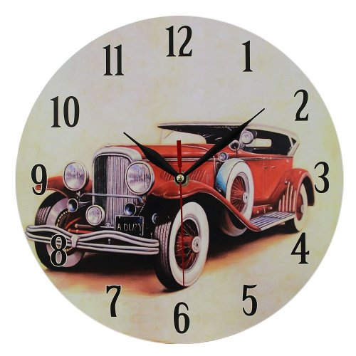 Obique Home Decoration Nostalgic Red Car Scene MDF Wall Clock 28cm