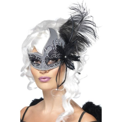 Silver & Black Ladies Masquerade Dark Angel Eye Mask -  masquerade eyemask dark angel smiffys fancy dress feathers ladies halloween tie sides
