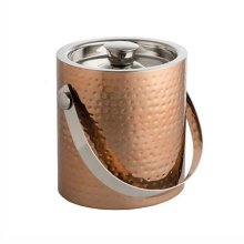 Epicurean Ice Bucket With Tongs, Copper - Cw Lid Tongs Hammered Finish Double -  epicurean ice bucket cw lid tongs hammered copper finish double wall