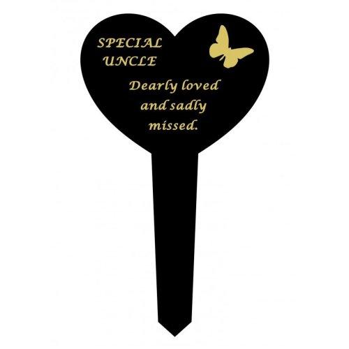 Uncle Black Slim Plastic Heart Memorial Grave Marker Stake