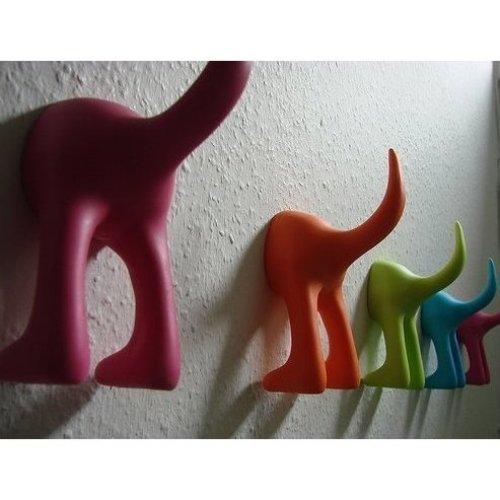 Ikea Set 6 Dog Tail Hooks Assorted Colors Pet Leash Hanger Hat Coat Key Holder Wall Organizer Bastis by IKEA