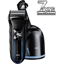 Braun Series 3 350cc Mens Electric Foil Shaver / Electric Razor with Charging Station, Black/Blue