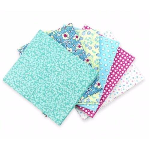 Fat Quarter Bundle - 100% Cotton - Blue Patchwork - Pack of 6