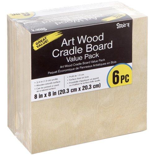 "Studio 71 Art Wood Cradle Board Value Pack 8""X8"" 6/Pkg-"