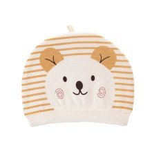 Set of 3 Cute Baby Hats Infant Caps Newborn Baby Cotton Hat Bear Yellow