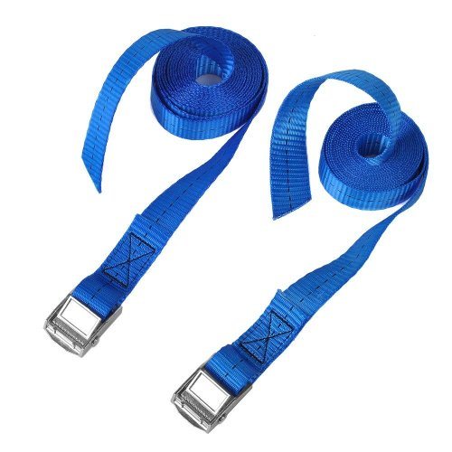 """BlueCosto 1"""" x 8' Lashing Strap Tie Down Straps Tensioning Belts, Rated 500 Lbs - Pack of 2, Blue"""