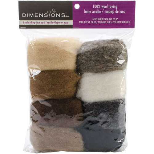 Dimensions Feltworks Roving Value Pack 2.8oz-Earth Tone