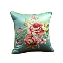 Chinese Style Classical Flowers Embroidered Decorative Pillows Sofa Pillow Cover, #04