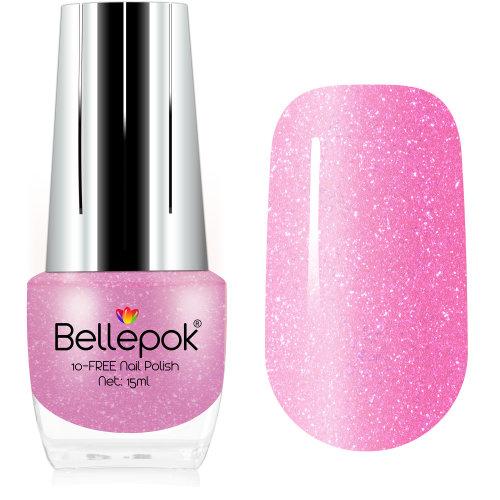 Bellepok 10-FREE Nail Polish - Pink Panther   Non-Toxic Pink Glitter Nail Varnish