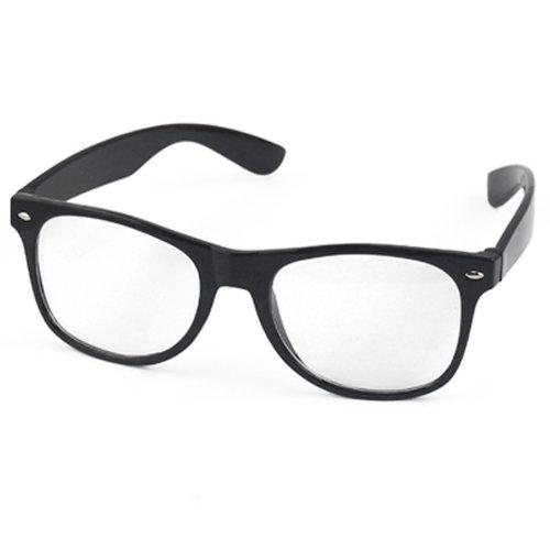 TRIXES Wayfarer Glasses Clear Lens Nerd Geek Party Retro Vintage Frames