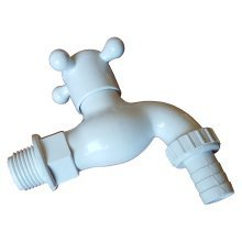 """1/2"""" 3/4"""" White Plastic Outdoor Garden Watering Tap Valve With Hose Connector"""