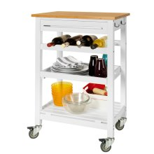 SoBuy® FKW16-WN, Kitchen Storage Trolley Serving Trolley Bamboo Top