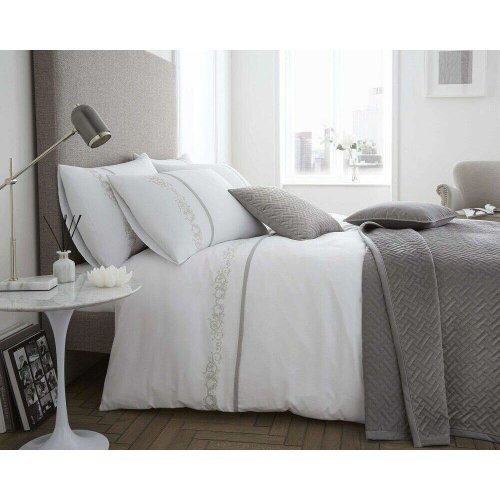 Bellissimo White Louisa Cotton Rich 200 Thread Count Duvet Cover Set