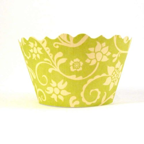 Swift Hannah Chartreuse and Yellow Cupcake Wrapper, Pack of 12